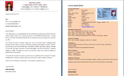 Contoh Application Letter & Curriculum Vitae ( CV )