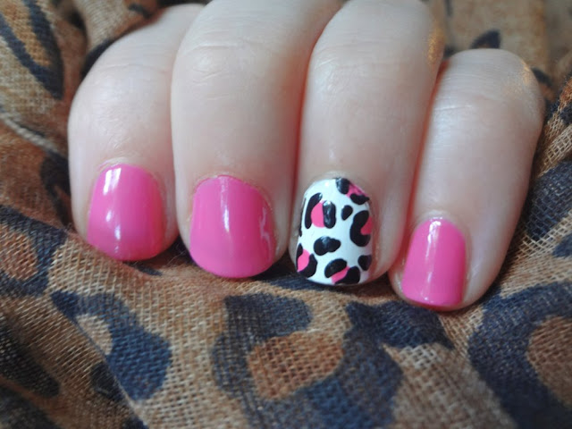 pink nails with leopard print accent nail