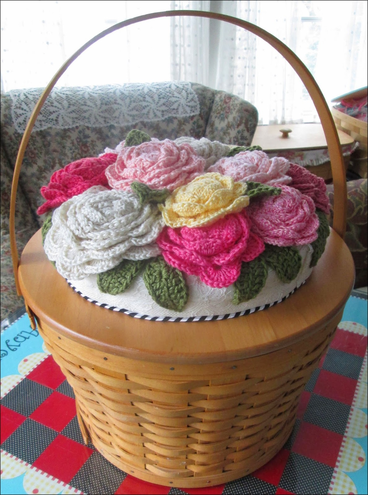 cute stuff inside CROCHET FLOWER BASKET
