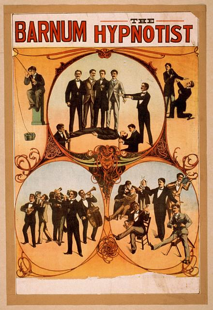 circus, classic posters, free download, graphic design, magic, movies, retro prints, theater, vintage, vintage posters, Barnum the Hypnotist - Vintage Magic Poster