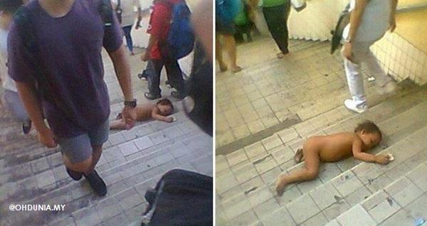 Bayi 2 tahun dibiarkan tanpa pakaian berbaring di tangga laluan awam