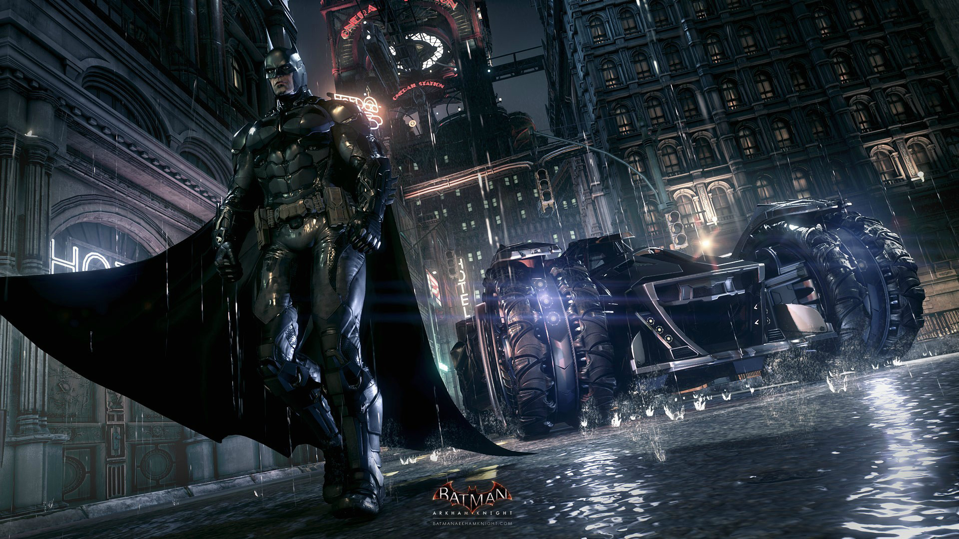 batman batmobile arkham knight 2o wallpaper hd