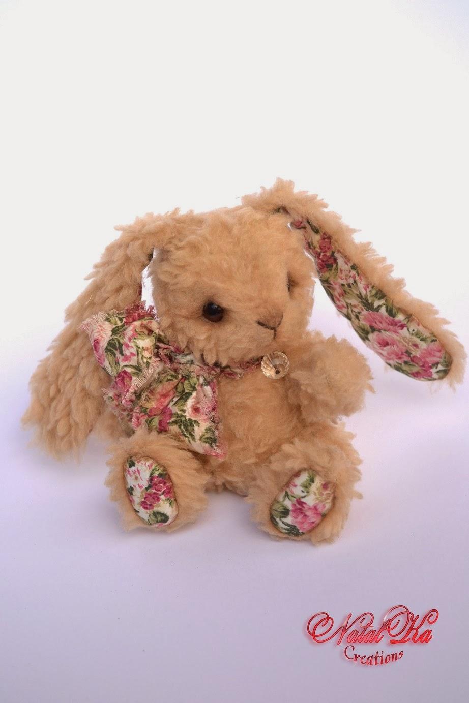 Artist teddy bunny handmade by Natalka Creations