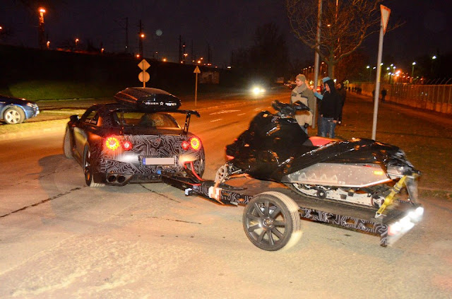 nissan GTR towing snowmobile budapest