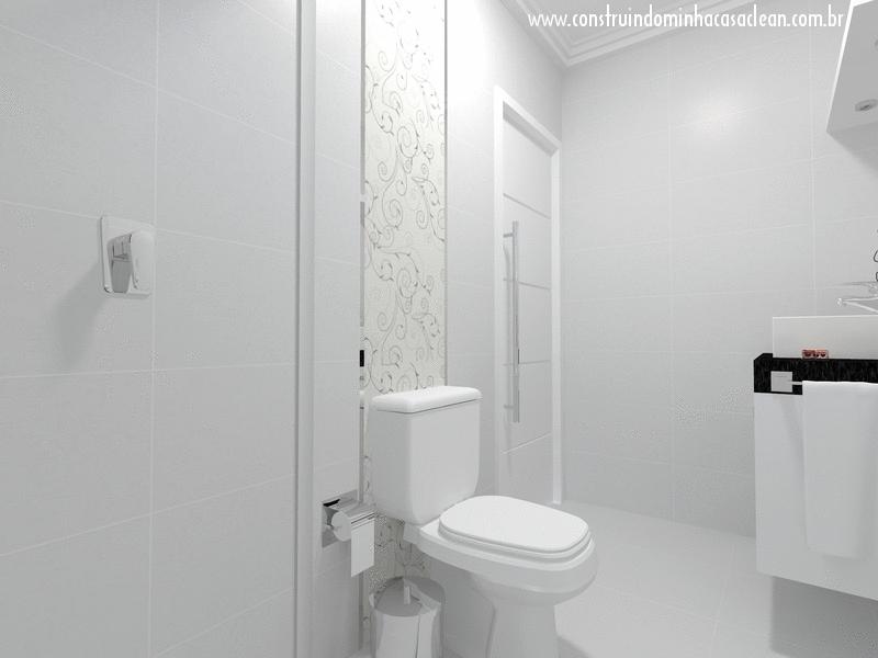 Construindo Minha Casa Clean Projeto do Banheiro Social! -> Banheiro Com Pastilha Atras Do Vaso Sanitario