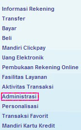 Cara hapus daftar transfer Mandiri Internet Banking