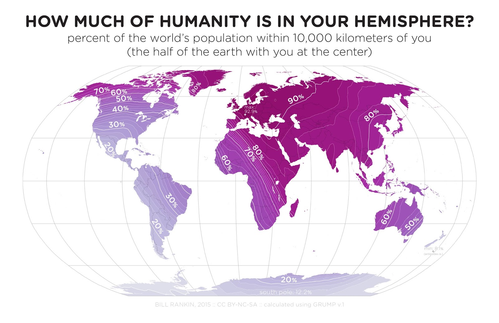 How much of humanity is in your hemisphere?