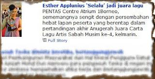 Esther Applunius Chin, Anugerah Juara Carta Lagu Artis Sabah Musim ke-4