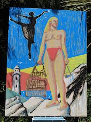 新春の壁画 「夢見る海女」