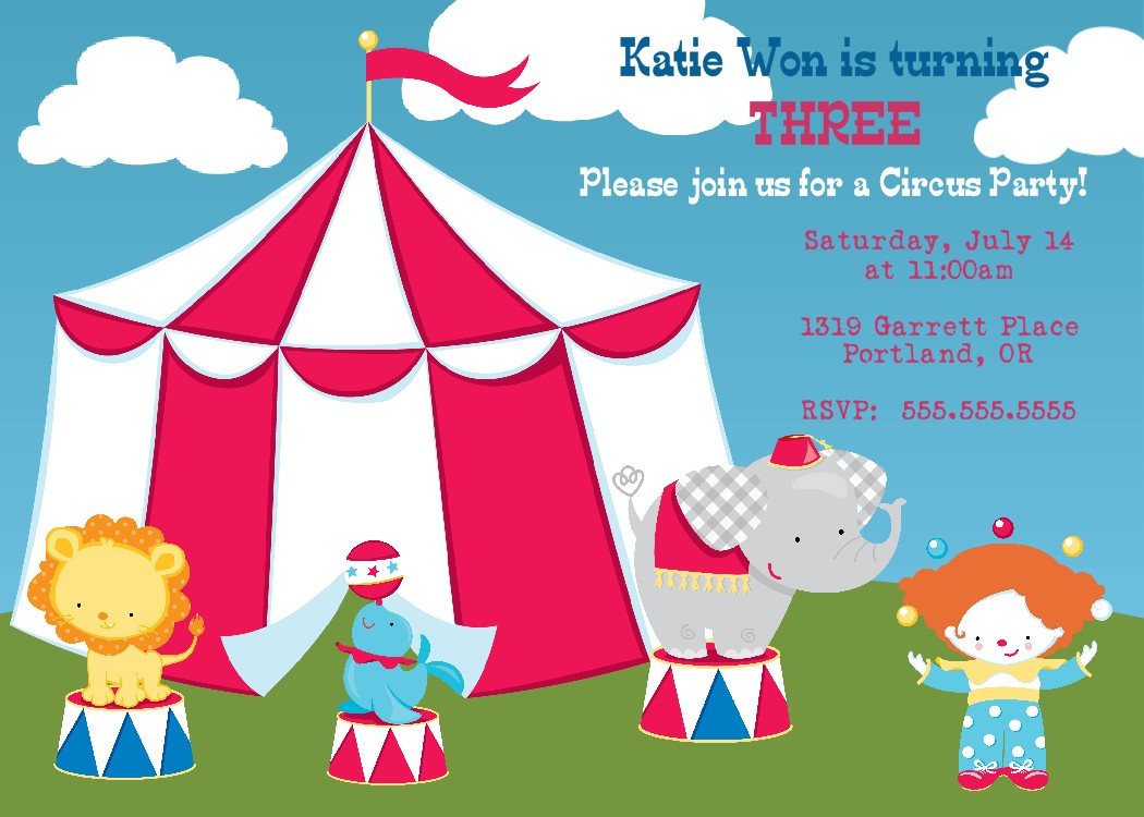Bear River Photo Greetings: Circus Birthday Party Invitation and ...