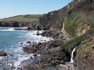 Rugged south coast of Cornwall cliffs and sea