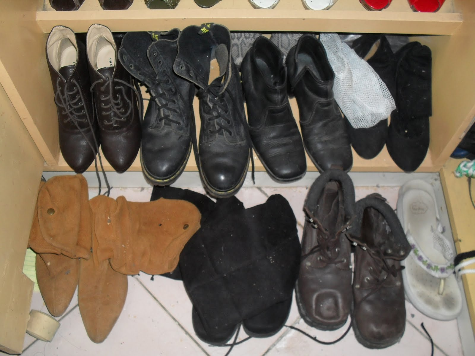 Last Row: BOOTS! L-R (Forever 21, Doc Martens, Celine, Ukay)