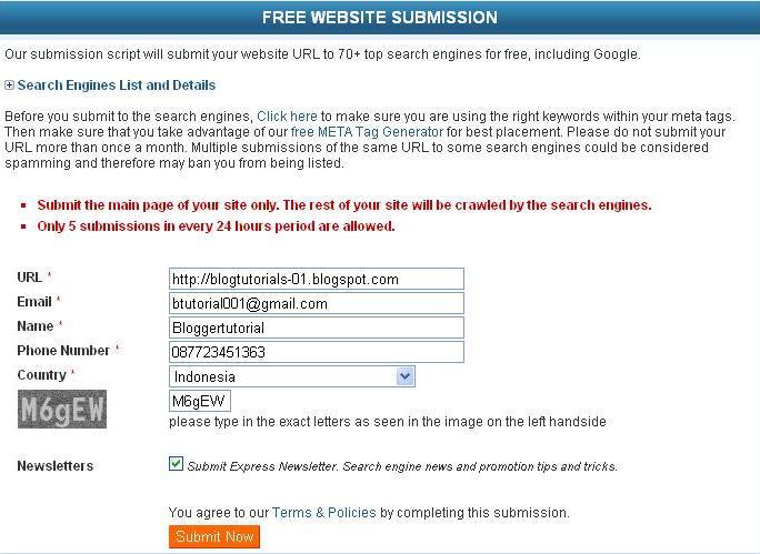 Terdaftar Secara Otomatis Di 40 Search Engine Sekaligus