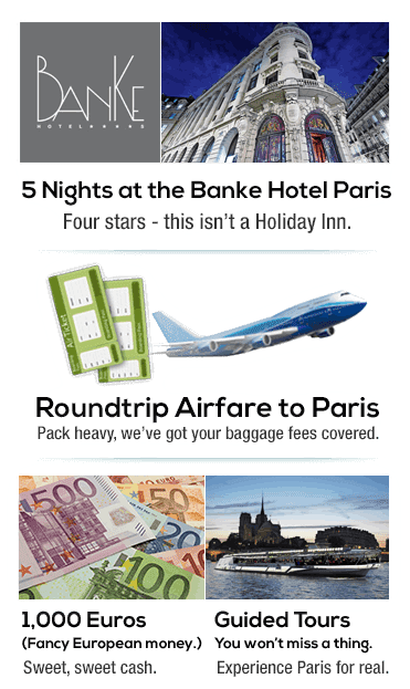 Win a trip for 2 for 5 nights to the Banke Hotel Paris, airfare included