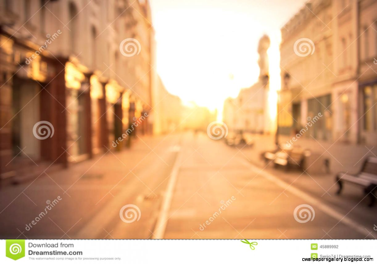 Beautiful City Street Background At Sunrise Time Stock Photo