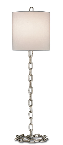 silver leaf industrial slim tall lamp