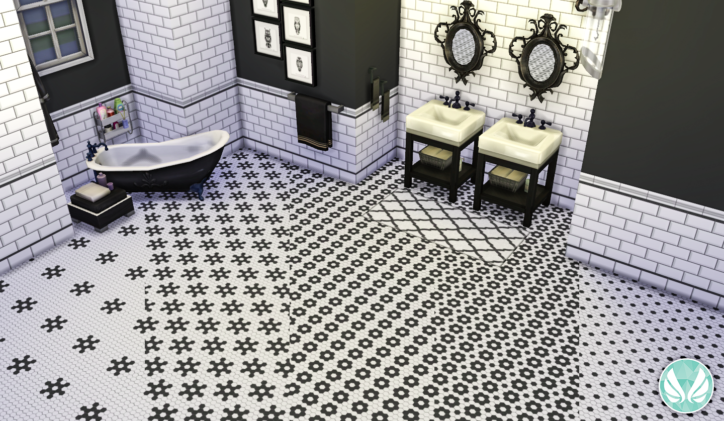 Simsational designs black and white hexagon floor tiles my first flooring it has taken long enough i really love hexagon floor tiles they are just a classic design when they are in a black and white combo dailygadgetfo Images