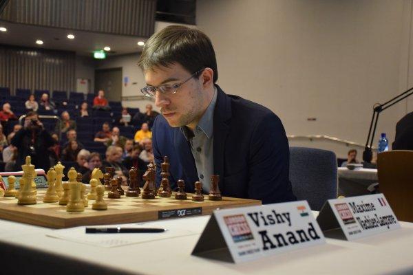 Ronde 7: Maxime Vachier-Lagrave remporte son duel face à l'ex-champion du monde d'échecs Viswanathan Anand - Photo © Tarjei J. Svensen