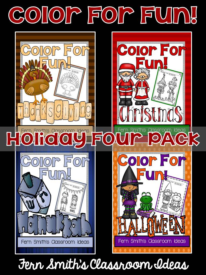 Fern Smith's Classroom Ideas Color For Fun Holiday Four Pack of Printable Coloring Pages