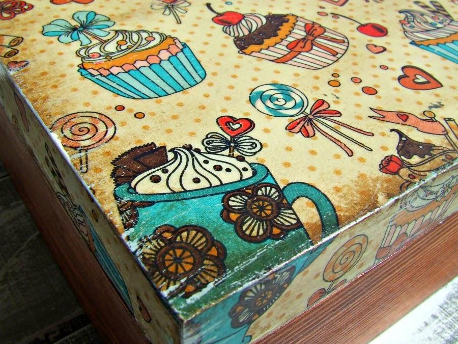 Pudełka decoupage w stylu vintage z motywem kawy i muffinek. blog decoupage
