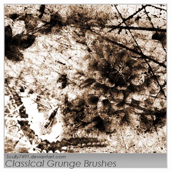 Classical Grunge by Scully7491 30 Must Have Grunge Photoshop Brushes Collection Set