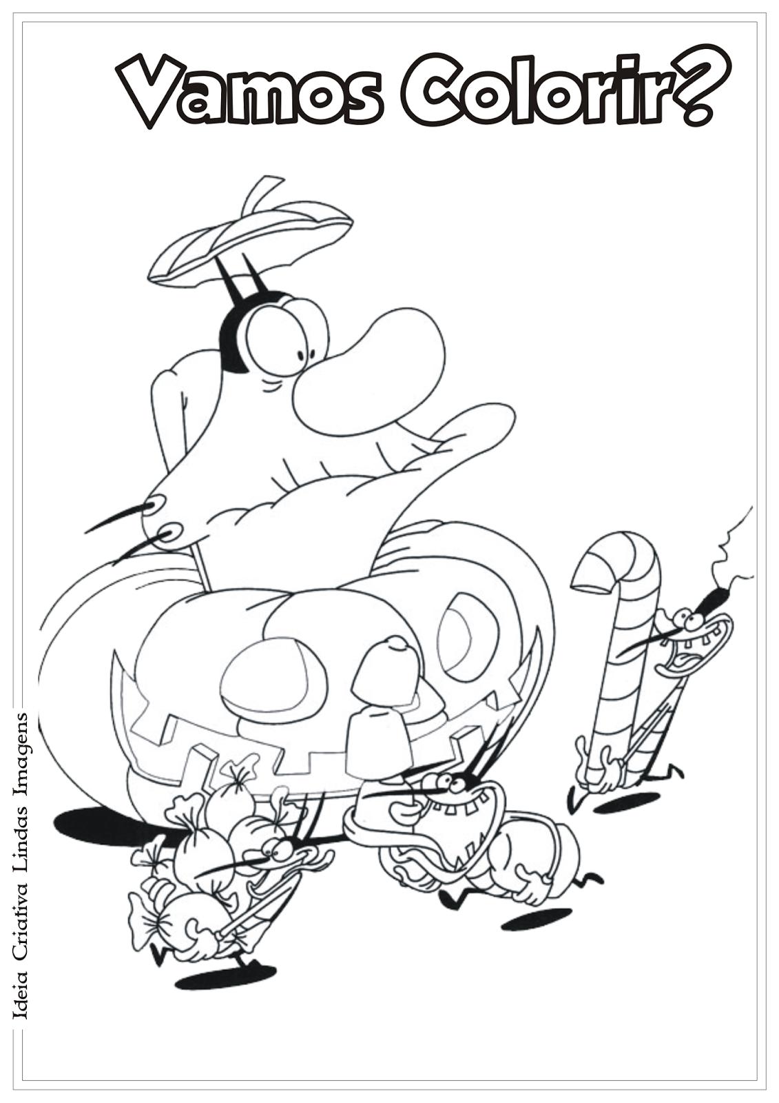 Oggy e as baratas tontas desenho para colorir