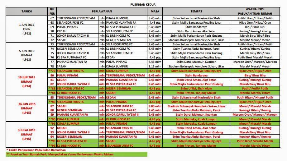 Jadual Perlawanan Bola Sepak Liga Premier Malaysia 2015