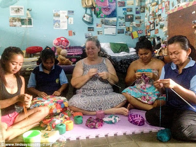 British grandmother Lindsay Sandiford (centre) on Death Row in Bali for smuggling cocaine has set up a knitting venture behind bars to provide desperately needed funds for a final appeal