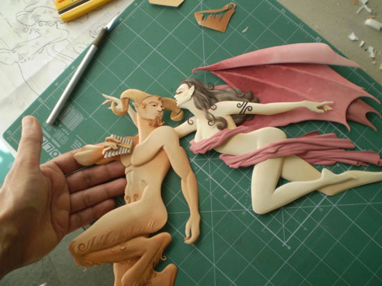 Process Work for Paper Sculptures by Carlos Meira