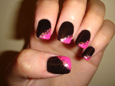 Black and hot pink manicure with pink glitter using cdn 538 mac