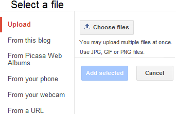 Blogger Image uploading Options