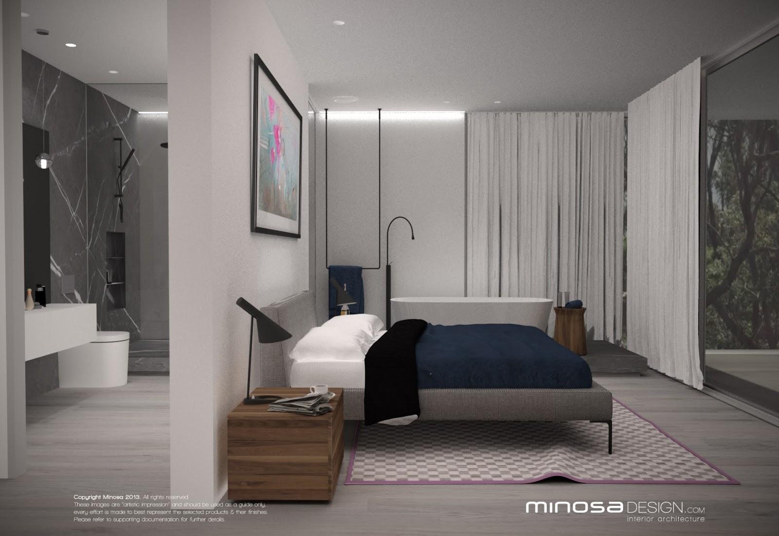 Open plan bathroom and bedroom designs