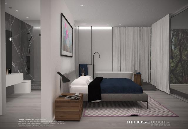 Minosa open to open plan parents retreat for Open plan bedroom bathroom