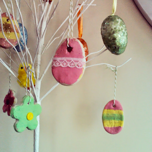 Salt dough easter tree decorations