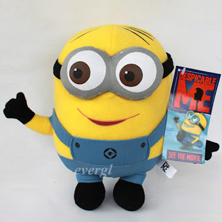 "WHM Despicable Me Minion Plush Soft Toy Stuffed Animal Doll 9"" Dave Figure Teddy"