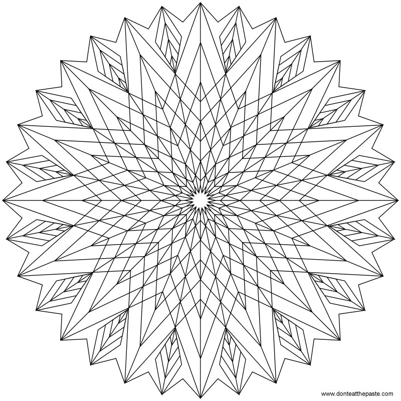 Don 39 t eat the paste star mandala to color Geometric coloring books for adults