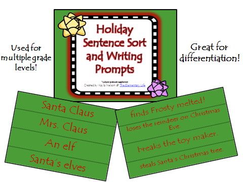 http://www.teacherspayteachers.com/Product/FREE-Holiday-Sentence-Sort-and-Writing-Prompt-994587