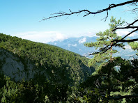 El Clot de Malanyeu amb la Serra d'Ensija al fons, des de la Collada del Tosquer