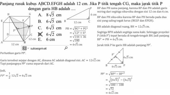 jarak titik P ke garis HB pada kubus