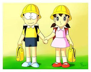 Gambar kartun animasi Nobita dan Shizuka bergandengan tangan
