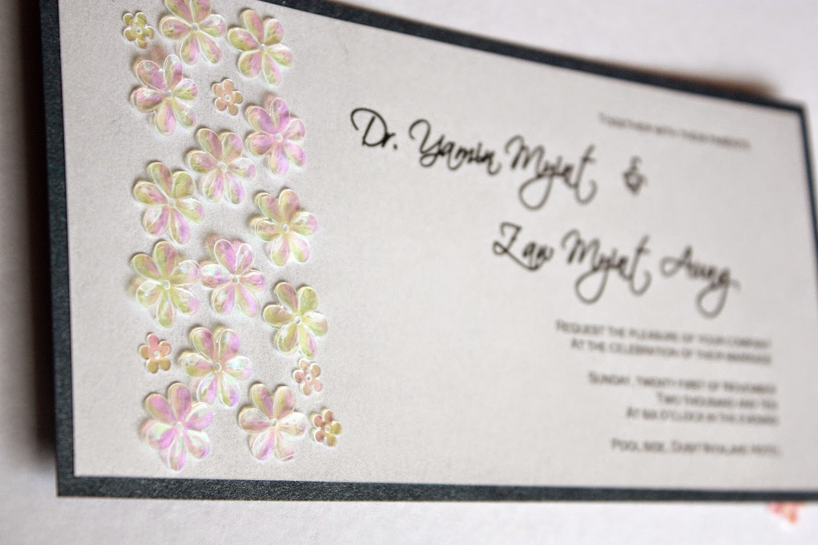 Luxurious flower garden handmade wedding invitation card