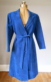 1960s Blue Suede Trench Coat