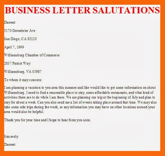 business cover letter salutations Business letters in english should follow a set format, one that is slightly different  in  on the british letter, the sender's address, the date, the closing salutation,.