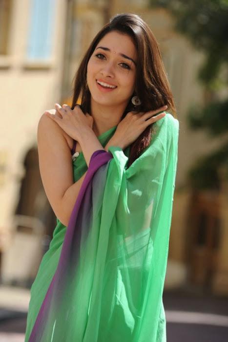 tamanna in green saree glamour  images
