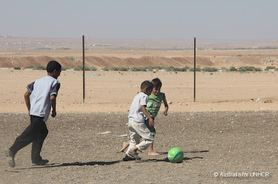 While war escalates across the border in Syria with recent suspected chemical weapons use, playing soccer is an important social outlet for refugee children at Zaatari Refugee Camp in Jordan.