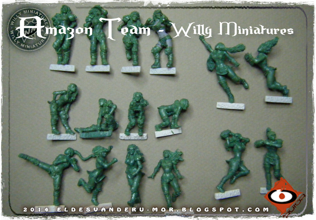 Foto de varias miniaturas del Equipo Blood Bowl de Amazonas de WILLY Miniatures hechas por ªRU-MOR. Catcher, Blitzers, thrower and linewoman, fantasy football