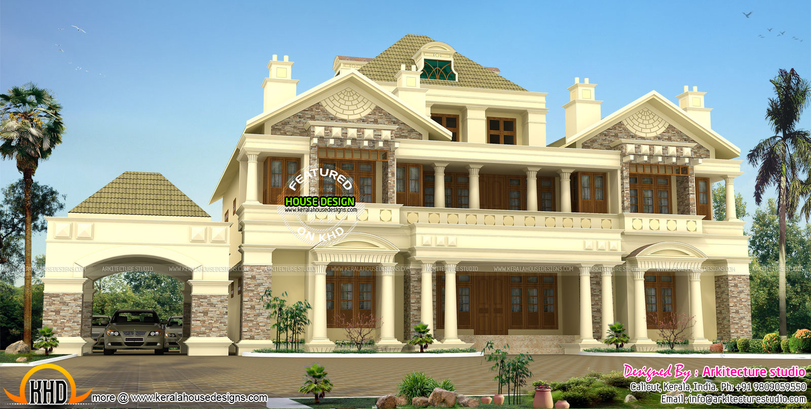 Luxury colonial style slope roof home kerala home design for Colonial luxury house plans