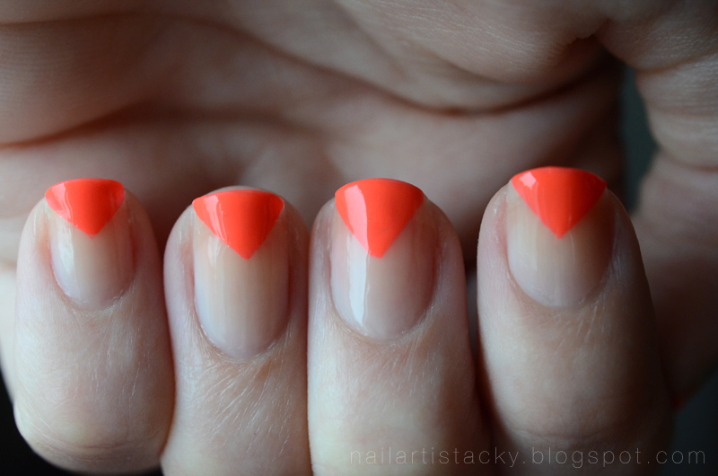 Neon Nail Art - Orange & Nude