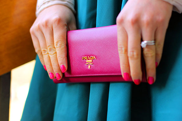 Prada Fuchsia Saffiano Leather Wallet