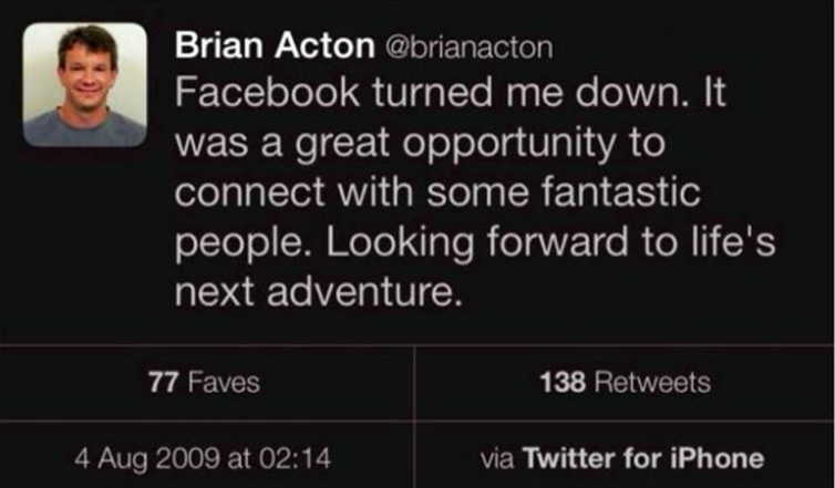 Tweet Brian Acton (pendiri WhatsApp)